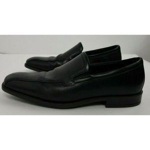 ECCO Black Leather Shock Point Walking Slip Shoes